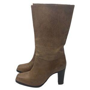 """Eddie Bauer boots leather 3.5"""" heel Size 7.5 brown"""